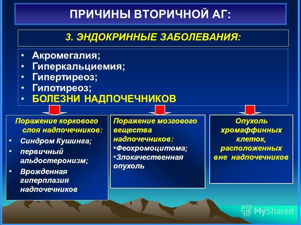 Вторичные артериальные гипертонии: классификация
