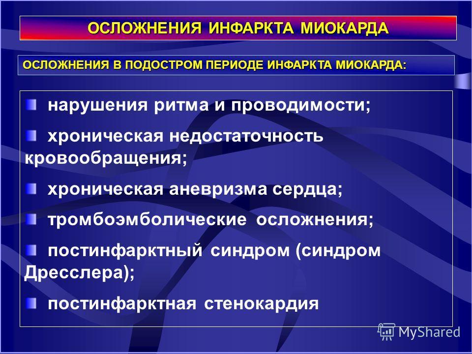 """Презентация на тему: """"ОСЛОЖНЕНИЯ ИНФАРКТА МИОКАРДА ЛЕКЦИЯ 1 ..."""