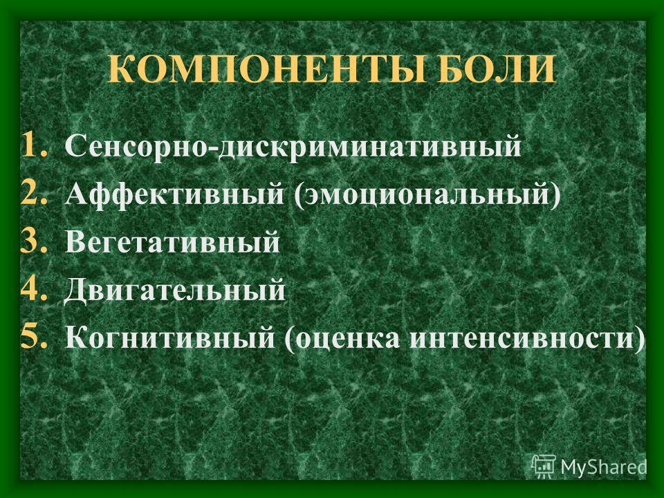 КОМПОНЕНТЫ БОЛИ 1. Сенсорно-дискриминативный 2. Аффективный (эмоциональный) 3. Вегетативный 4. Двигательный 5. Когнитивный (оценка интенсивности)