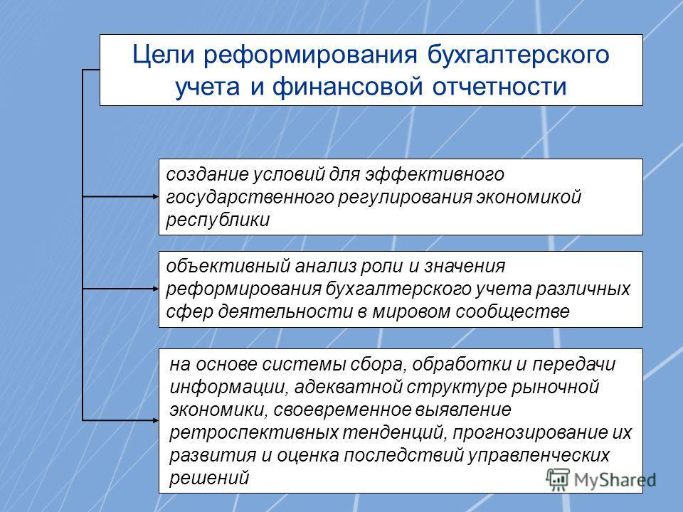 Цели реформирования бухгалтерского учета и финансовой отчетности создание условий для эффективного государственного регулирования экономикой республики объективный анализ роли и значения реформирования бухгалтерского учета различных сфер деятельности