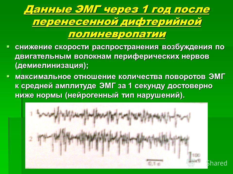 Данные ЭМГ через 1 год после перенесенной дифтерийной полиневропатии снижение скорости распространения возбуждения по двигательным волокнам периферических нервов (демиелинизация); снижение скорости распространения возбуждения по двигательным волокнам