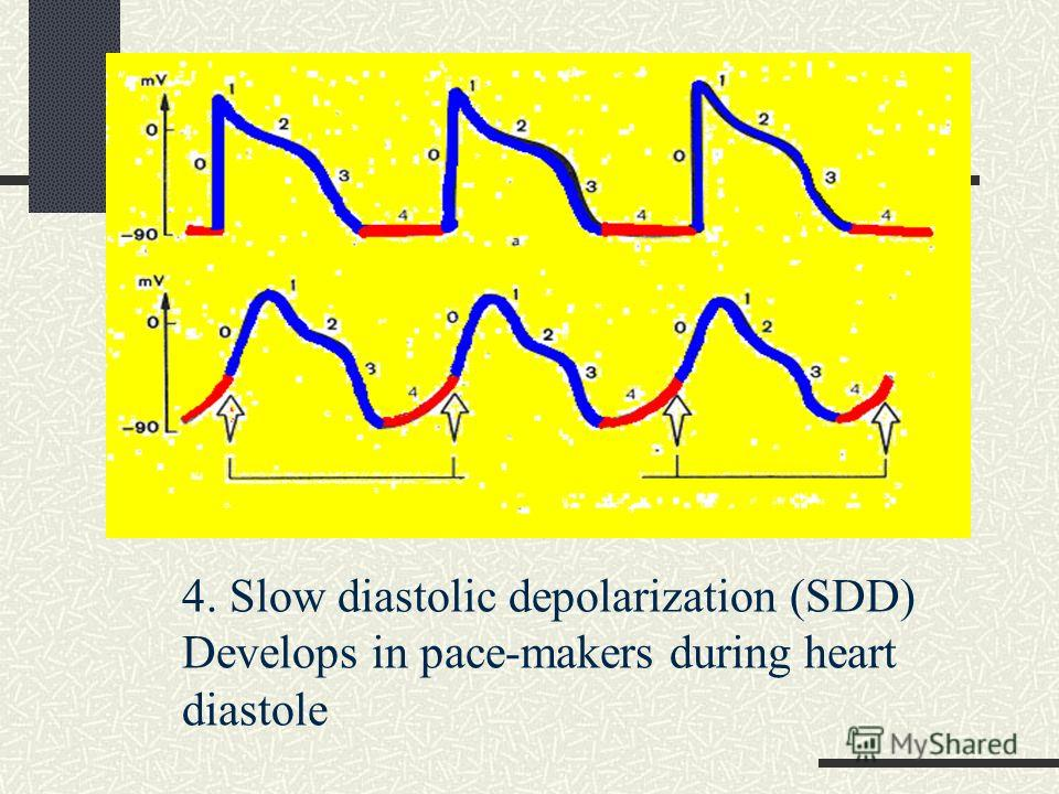 4. Slow diastolic depolarization (SDD) Develops in pace-makers during heart diastole