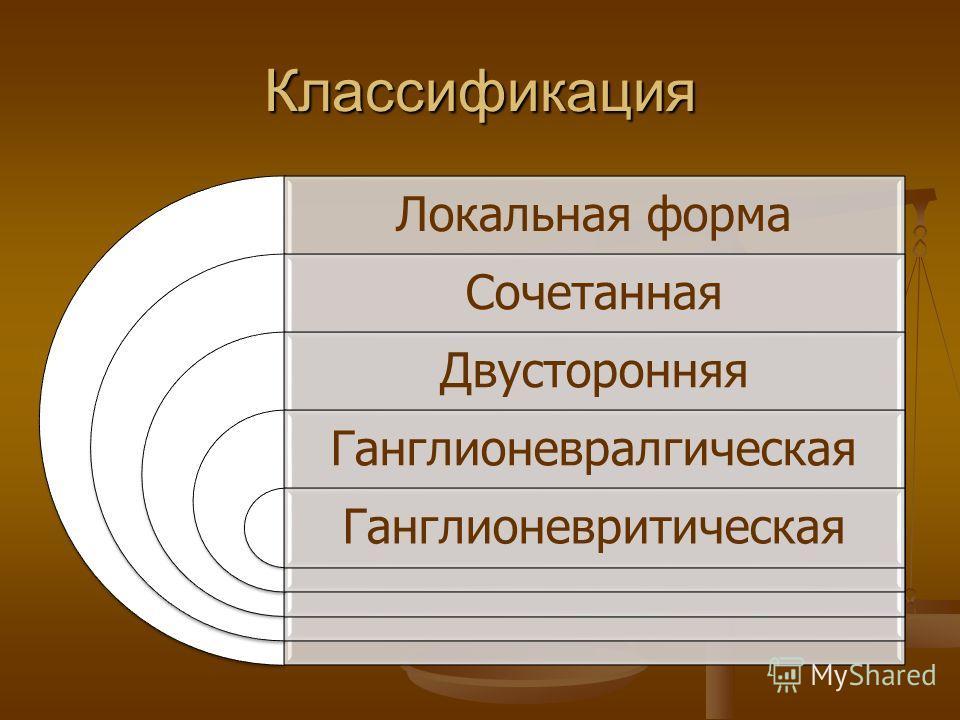Классификация Локальная форма Сочетанная Двусторонняя Ганглионевралгическая Ганглионевритическая