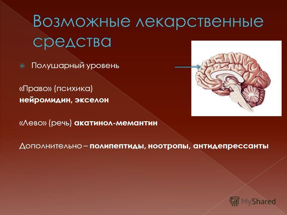 Полушарный уровень «Право» (психика) нейромидин, экселон «Лево» (речь) акатинол-мемантин Дополнительно – полипептиды, ноотропы, антидепрессанты
