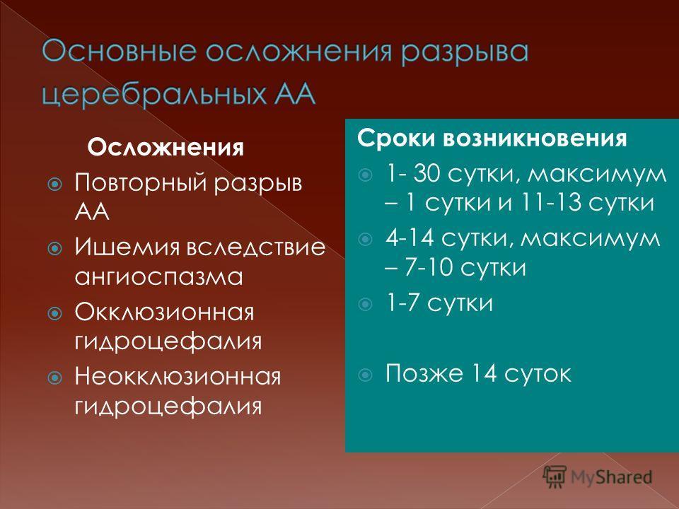 Осложнения Повторный разрыв АА Ишемия вследствие ангиоспазма Окклюзионная гидроцефалия Неокклюзионная гидроцефалия Сроки возникновения 1- 30 сутки, максимум – 1 сутки и 11-13 сутки 4-14 сутки, максимум – 7-10 сутки 1-7 сутки Позже 14 суток