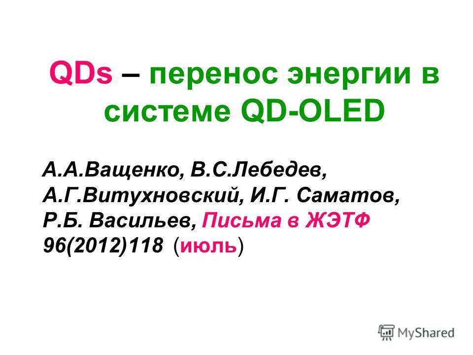 QDs – перенос энергии в системе QD-OLED А.А.Ващенко, В.С.Лебедев, А.Г.Витухновский, И.Г. Саматов, Р.Б. Васильев, Письма в ЖЭТФ 96(2012)118 (июль)