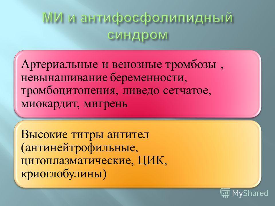 Артериальные и венозные тромбозы, невынашивание беременности, тромбоцитопения, ливедо сетчатое, миокардит, мигрень Высокие титры антител (антинейтрофильные, цитоплазматические, ЦИК, криоглобулины)