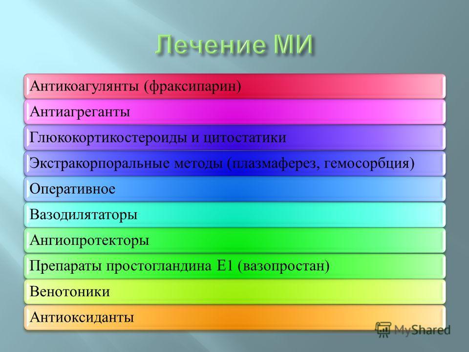 Антикоагулянты (фраксипарин)АнтиагрегантыГлюкокортикостероиды и цитостатикиЭкстракорпоральные методы (плазмаферез, гемосорбция)ОперативноеВазодилятаторыАнгиопротекторыПрепараты простогландина E1 (вазопростан)ВенотоникиАнтиоксиданты
