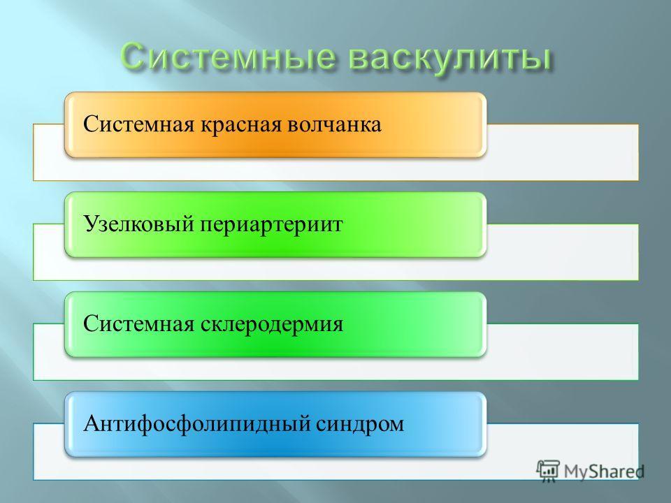 Системная красная волчанкаУзелковый периартериитСистемная склеродермияАнтифосфолипидный синдром
