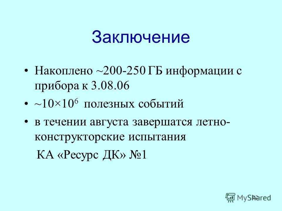 22 Заключение Накоплено ~200-250 ГБ информации с прибора к 3.08.06 ~10×10 6 полезных событий в течении августа завершатся летно- конструкторские испытания КА «Ресурс ДК» 1