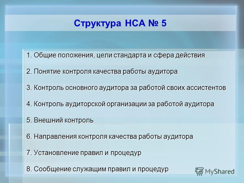 Структура НСА 5 1. Общие положения, цели стандарта и сфера действия 2. Понятие контроля качества работы аудитора 3. Контроль основного аудитора за работой своих ассистентов 4. Контроль аудиторской организации за работой аудитора 5. Внешний контроль 6