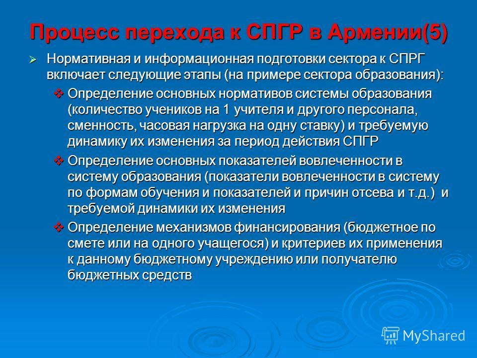 Процесс перехода к СПГР в Армении(5) Нормативная и информационная подготовки сектора к СПРГ включает следующие этапы (на примере сектора образования): Нормативная и информационная подготовки сектора к СПРГ включает следующие этапы (на примере сектора