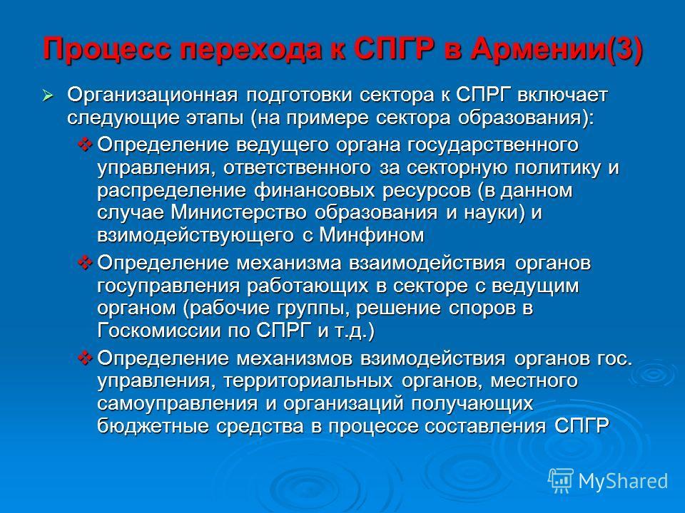 Процесс перехода к СПГР в Армении(3) Организационная подготовки сектора к СПРГ включает следующие этапы (на примере сектора образования): Организационная подготовки сектора к СПРГ включает следующие этапы (на примере сектора образования): Определение