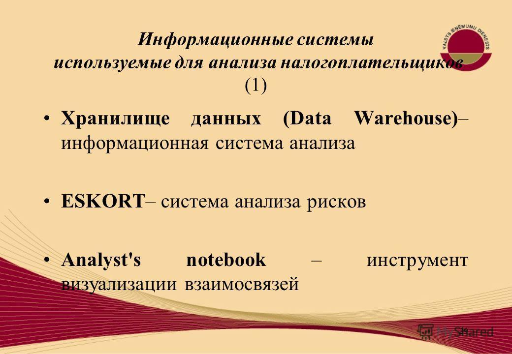 29 Информационные системы используемые для анализа налогоплательщиков (1) Хранилище данных (Data Warehouse)– информационная система анализа ESKORT– система анализа рисков Analyst's notebook – инструмент визуализации взаимосвязей