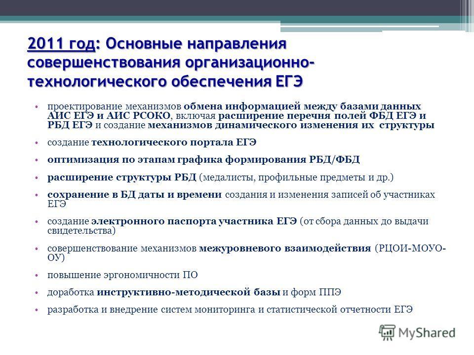 2011 год: Основные направления совершенствования организационно- технологического обеспечения ЕГЭ проектирование механизмов обмена информацией между базами данных АИС ЕГЭ и АИС РСОКО, включая расширение перечня полей ФБД ЕГЭ и РБД ЕГЭ и создание меха