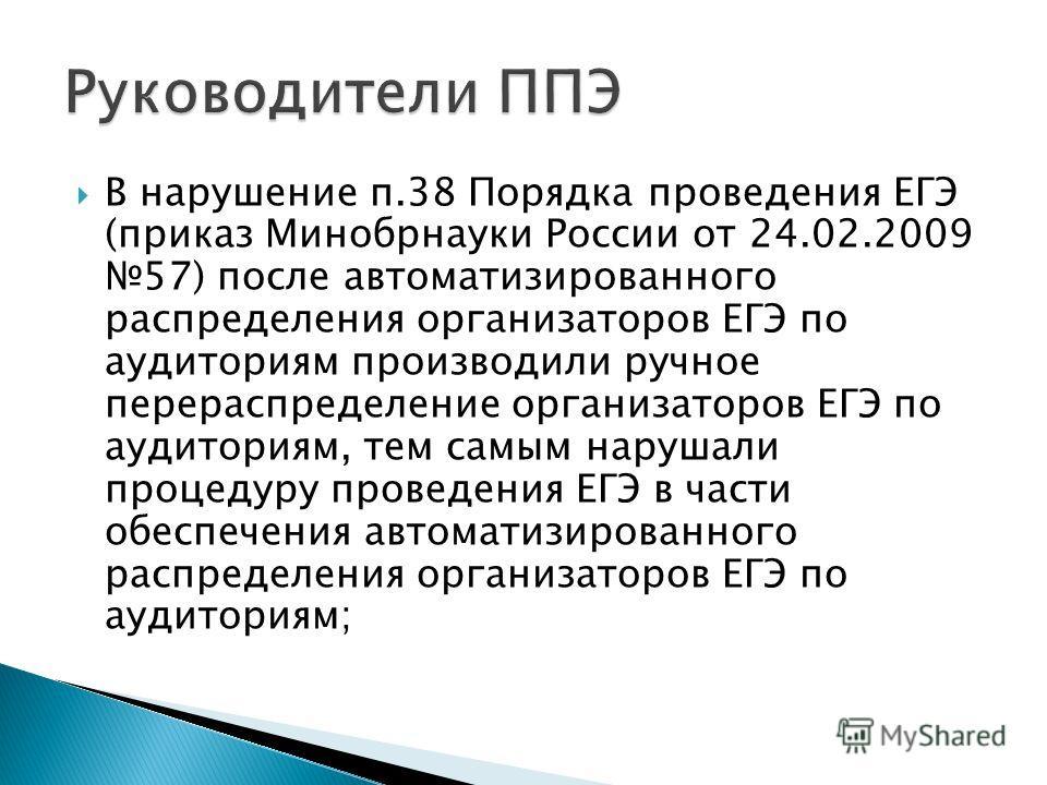 В нарушение п.38 Порядка проведения ЕГЭ (приказ Минобрнауки России от 24.02.2009 57) после автоматизированного распределения организаторов ЕГЭ по аудиториям производили ручное перераспределение организаторов ЕГЭ по аудиториям, тем самым нарушали проц