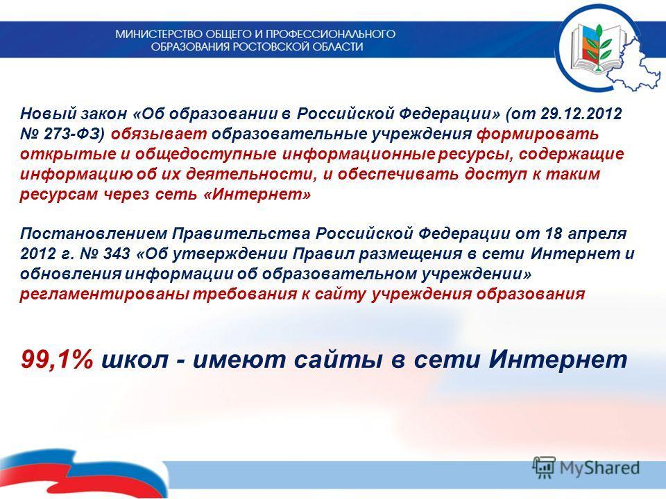 Новый закон «Об образовании в Российской Федерации» (от 29.12.2012 273-ФЗ) обязывает образовательные учреждения формировать открытые и общедоступные информационные ресурсы, содержащие информацию об их деятельности, и обеспечивать доступ к таким ресур