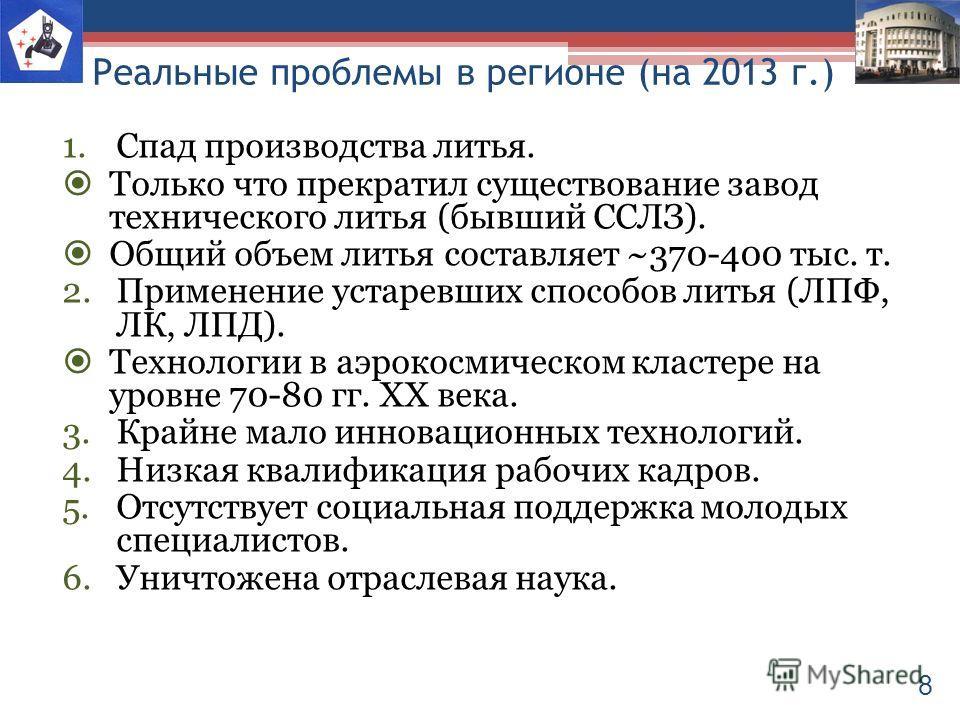 Реальные проблемы в регионе (на 2013 г.) 1.Спад производства литья. Только что прекратил существование завод технического литья (бывший ССЛЗ). Общий объем литья составляет ~370-400 тыс. т. 2.Применение устаревших способов литья (ЛПФ, ЛК, ЛПД). Технол