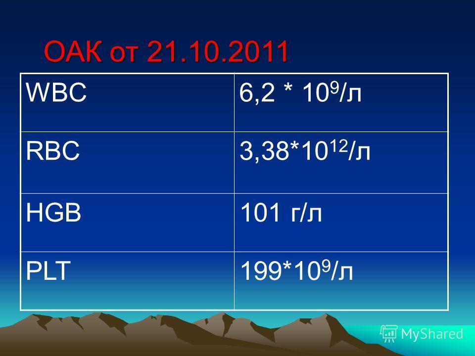 WBC6,2 * 10 9 /л RBC3,38*10 12 /л HGB101 г/л PLT199*10 9 /л ОАК от 21.10.2011