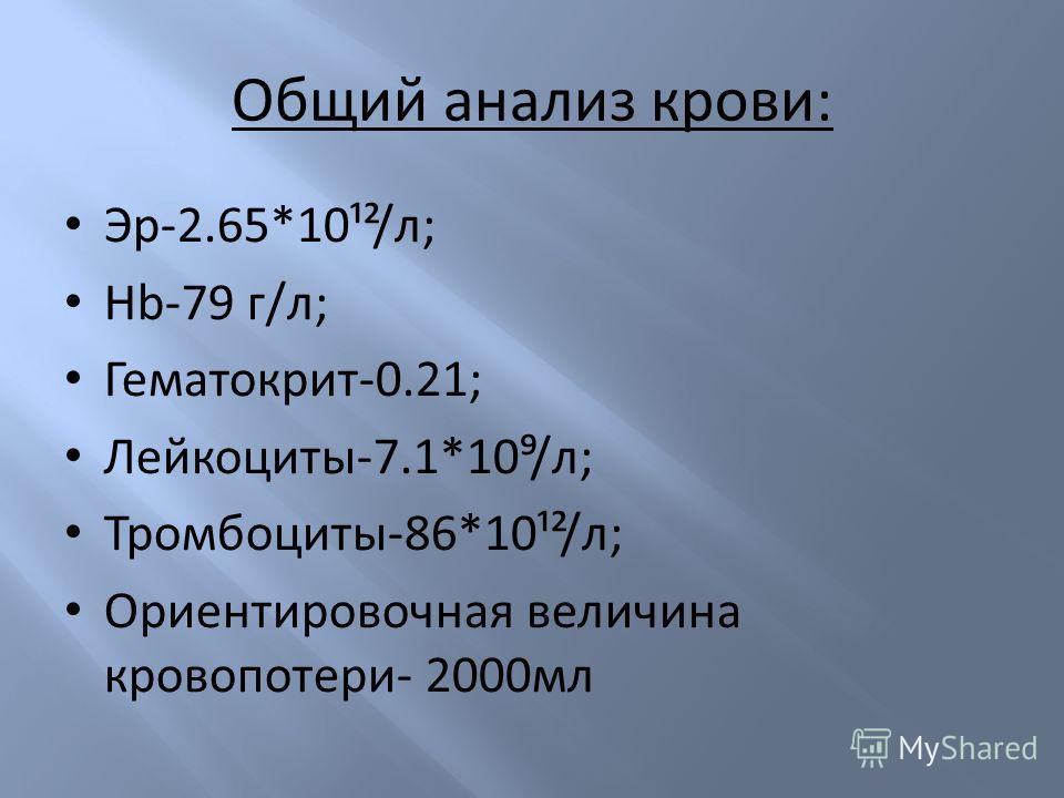 Общий анализ крови: Эр-2.65*10¹²/л; Hb-79 г/л; Гематокрит-0.21; Лейкоциты-7.1*10/л; Тромбоциты-86*10¹²/л; Ориентировочная величина кровопотери- 2000мл