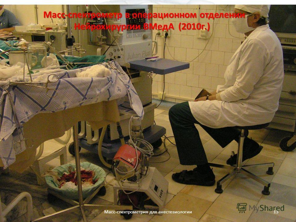 Масс-спектрометр в операционном отделении Нейрохирургии ВМедА (2010г.) Масс-спектрометрия для анестезиологии13