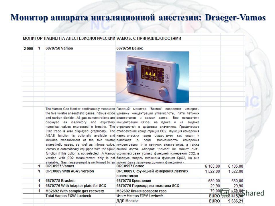 Монитор аппарата ингаляционной анестезии: Draeger-Vamos Масс-спектрометрия для анестезиологии8