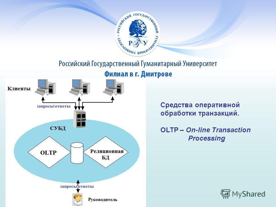 Средства оперативной обработки транзакций. OLTP – On-line Transaction Processing