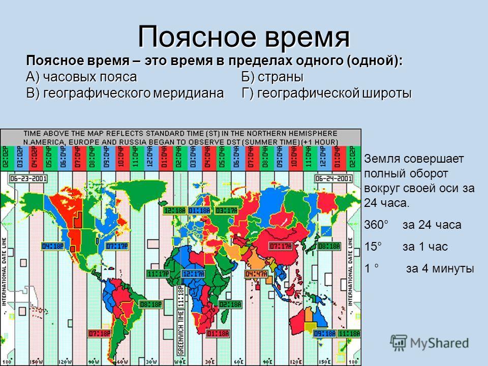 Поясное время Поясное время – это время в пределах одного (одной): А) часовых пояса Б) страны В) географического меридиана Г) географической широты Земля совершает полный оборот вокруг своей оси за 24 часа. 360° за 24 часа 15° за 1 час 1 ° за 4 минут