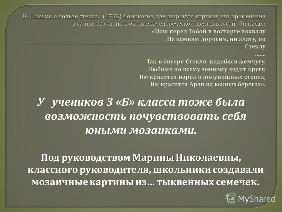 У учеников 3 « Б » класса тоже была возможность почувствовать себя юными мозаиками. Марины Николаевны Под руководством Марины Николаевны, классного руководителя, школьники создавали мозаичные картины из … тыквенных семечек.