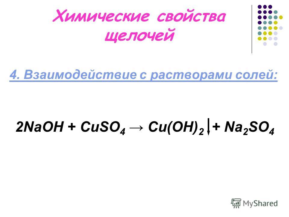 Химические свойства щелочей 4. Взаимодействие с растворами солей: 2NaОН + CuSO 4 Cu(OH) 2 + Na 2 SO 4