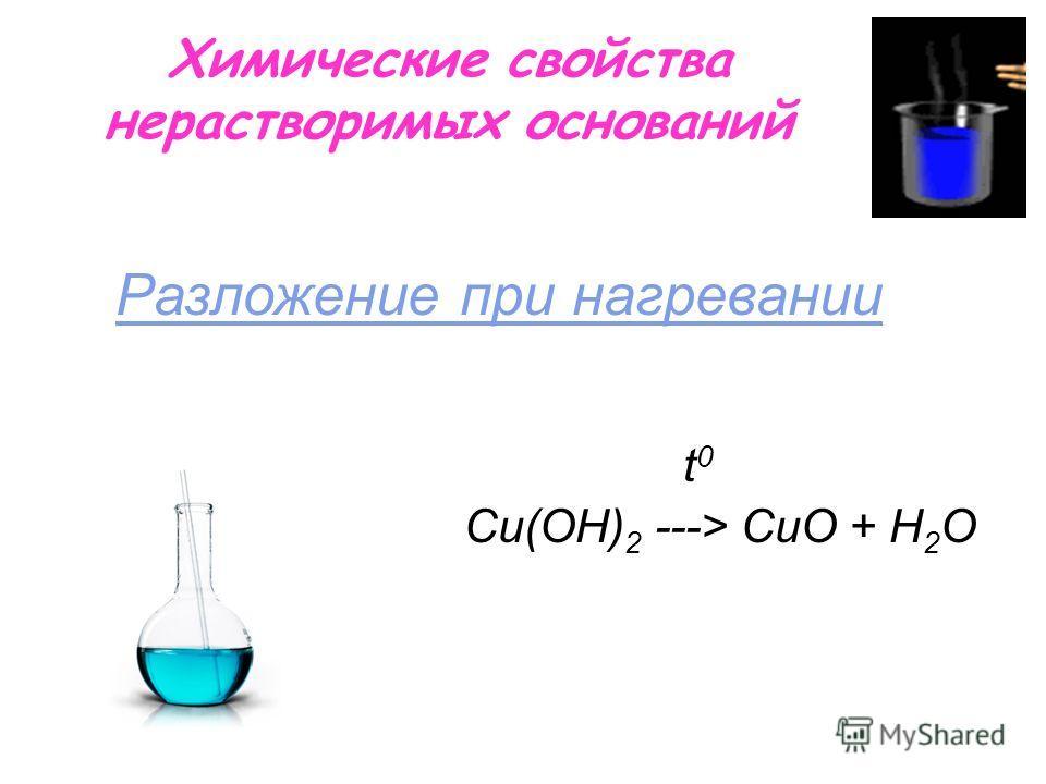 Химические свойства нерастворимых оснований t 0 Сu(OН) 2 ---> СuO + H 2 O Разложение при нагревании