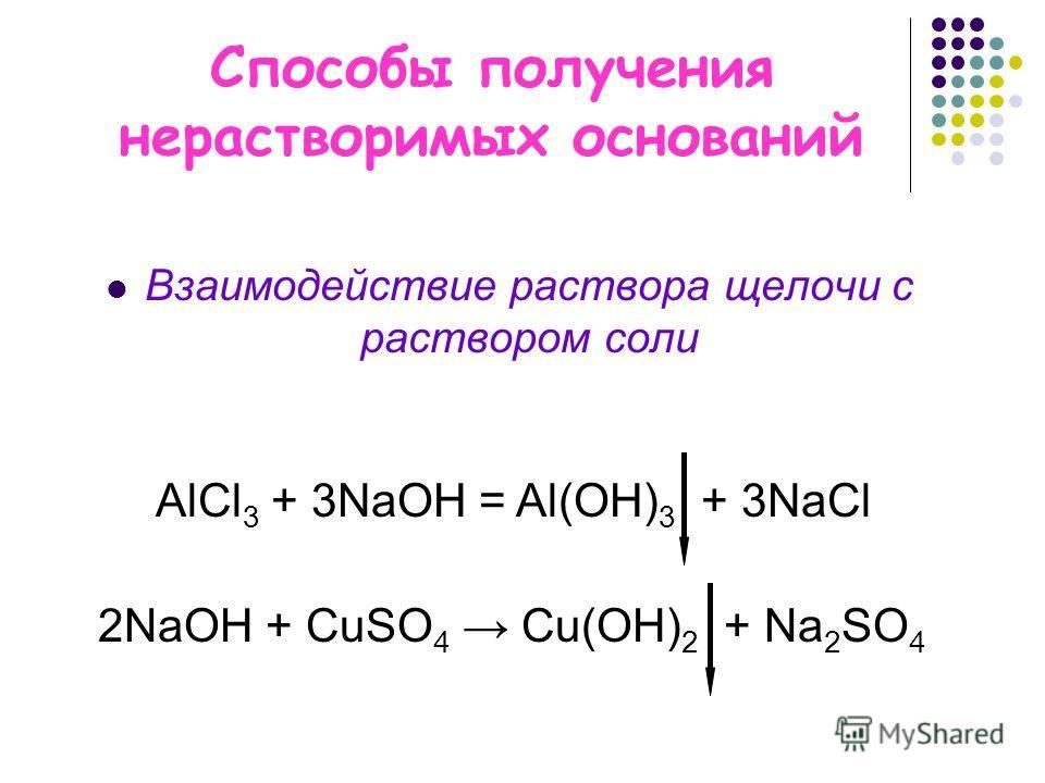 Способы получения нерастворимых оснований Взаимодействие раствора щелочи с раствором соли АlCl 3 + 3NaOH = Al(OH) 3 + 3NaCl 2NaОН + CuSO 4 Cu(OH) 2 + Na 2 SO 4
