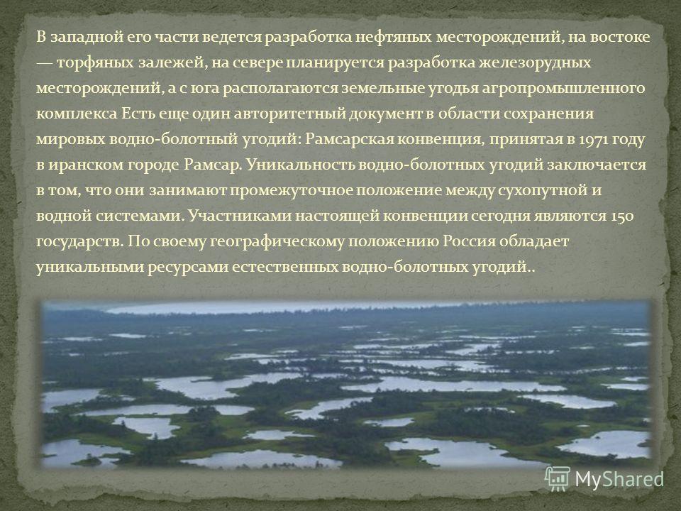 В западной его части ведется разработка нефтяных месторождений, на востоке торфяных залежей, на севере планируется разработка железорудных месторождений, а с юга располагаются земельные угодья агропромышленного комплекса Есть еще один авторитетный до