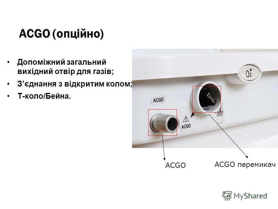 ACGO (опційно) Допоміжний загальний вихідний отвір для газів; Зєднання з відкритим колом; Т-коло/Бейна. ACGO перемикач ACGO