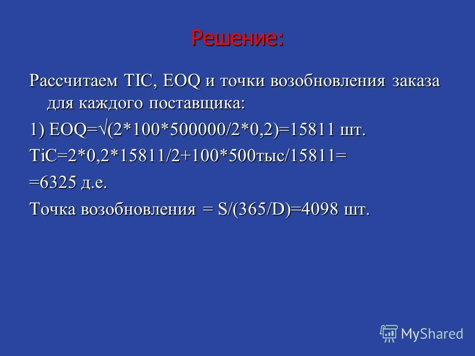 Решение: Рассчитаем TIC, EOQ и точки возобновления заказа для каждого поставщика: 1) EOQ=(2*100*500000/2*0,2)=15811 шт. TiC=2*0,2*15811/2+100*500 тыс/15811= =6325 д.е. Точка возобновления = S/(365/D)=4098 шт.