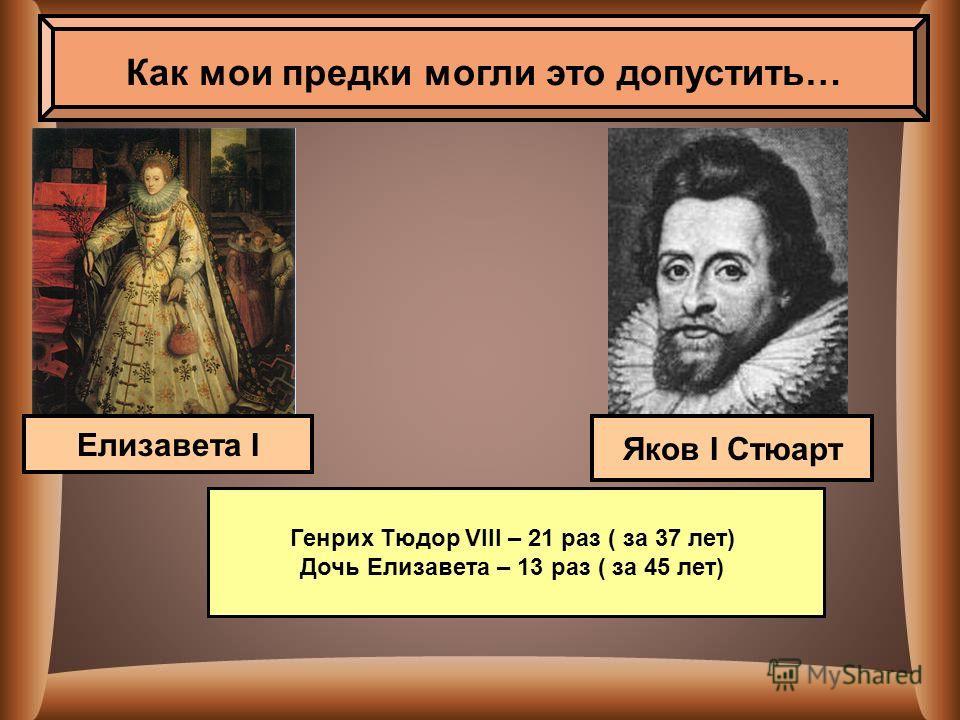 Как мои предки могли это допустить… Яков I Стюарт Елизавета I Генрих Тюдор VIII – 21 раз ( за 37 лет) Дочь Елизавета – 13 раз ( за 45 лет)