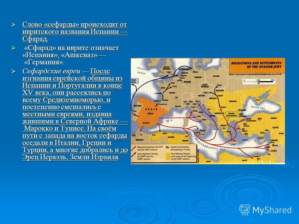Слово «сефарды» происходит от ивритского названия Испании Сфарад. Слово «сефарды» происходит от ивритского названия Испании Сфарад. «Сфарад» на иврите означает «Испания», «Ашкеназ» «Германия». «Сфарад» на иврите означает «Испания», «Ашкеназ» «Германи