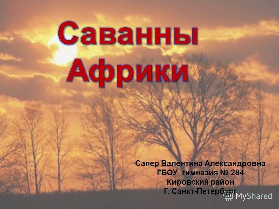 Сапер Валентина Александровна ГБОУ гимназия 284 Кировский район Г. Санкт-Петербург