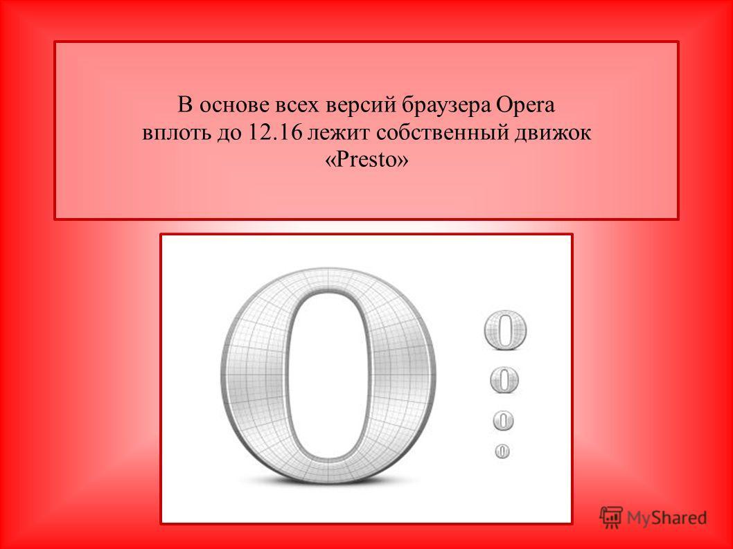 В основе всех версий браузера Opera вплоть до 12.16 лежит собственный движок «Presto»