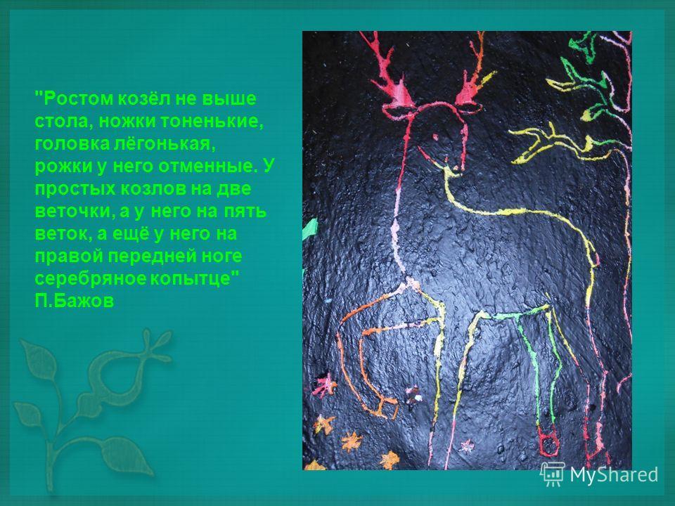 Ростом козёл не выше стола, ножки тоненькие, головка лёгонькая, рожки у него отменные. У простых козлов на две веточки, а у него на пять веток, а ещё у него на правой передней ноге серебряное копытце П.Бажов