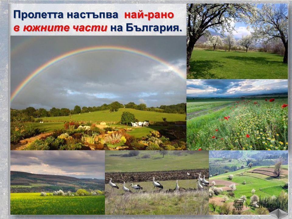 Пролетта настъпва най-рано в южните части на България.