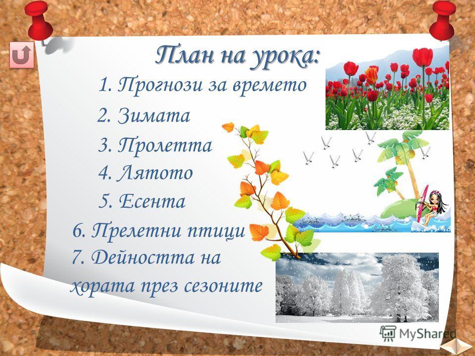 План на урока: 1. Прогнози за времято 2. Зимята 3. Пролетта 4. Лятото 5. Есента 6. Прелетни птицы 7. Дейността на хората през сезоныте