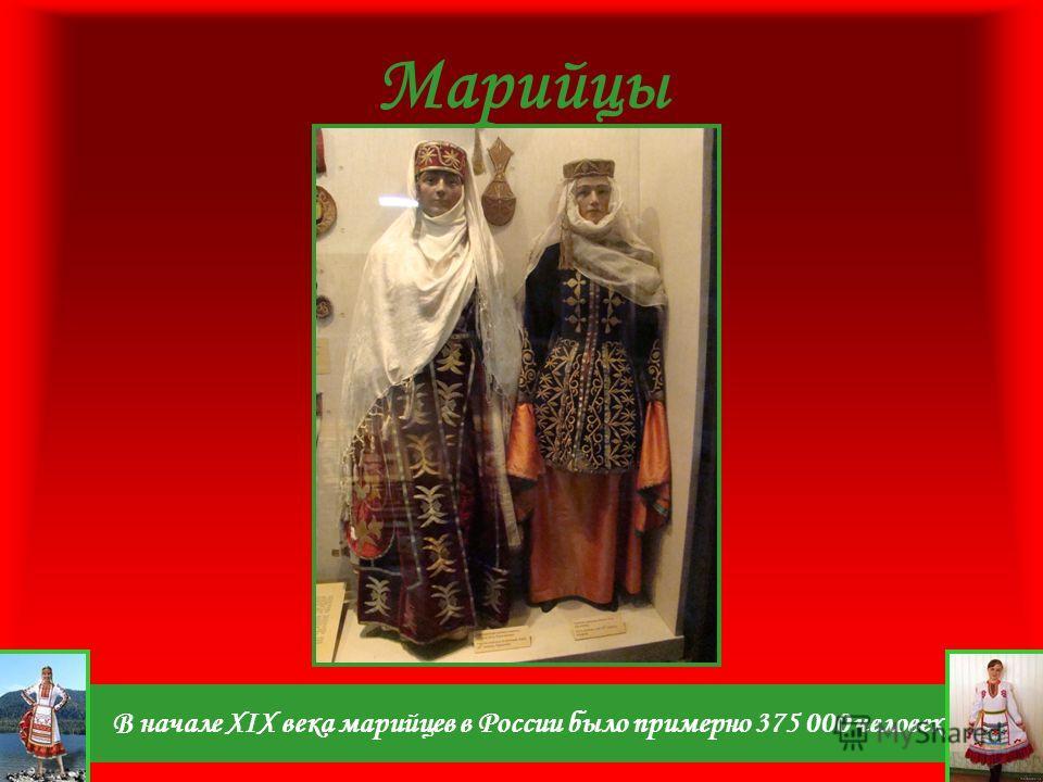 В начале XIX века марийцев в России было примерно 375 000 человек. Марийцы
