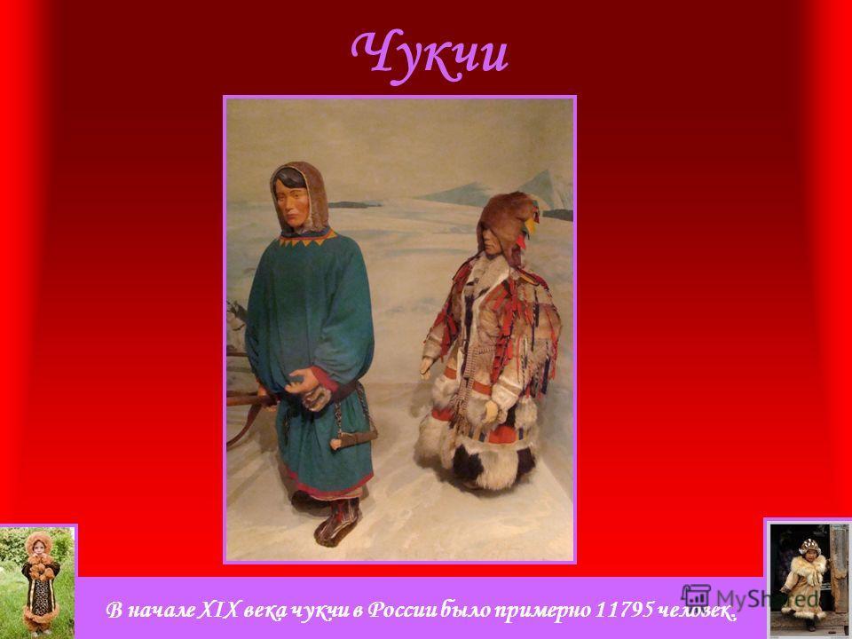 В начале XIX века чукчи в России было примерно 11795 человек. Чукчи