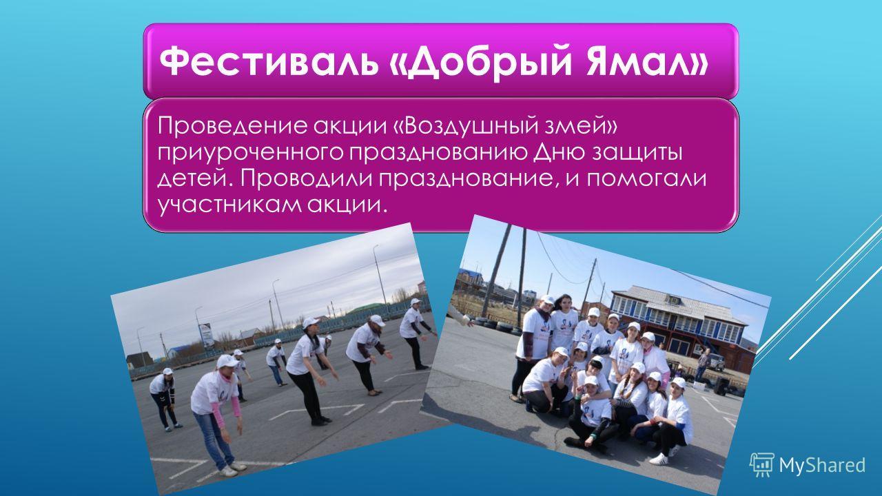 Фестиваль «Добрый Ямал» Проведение акции «Воздушный змей» приуроченного празднованию Дню защиты детей. Проводили празднование, и помогали участникам акции.