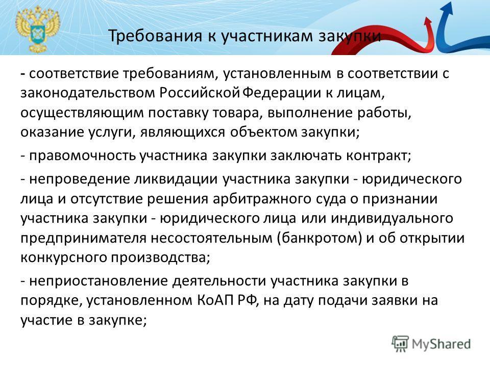 Требования к участникам закупки - соответствие требованиям, установленным в соответствии с законодательством Российской Федерации к лицам, осуществляющим поставку товара, выполнение работы, оказание услуги, являющихся объектом закупки; - правомочност