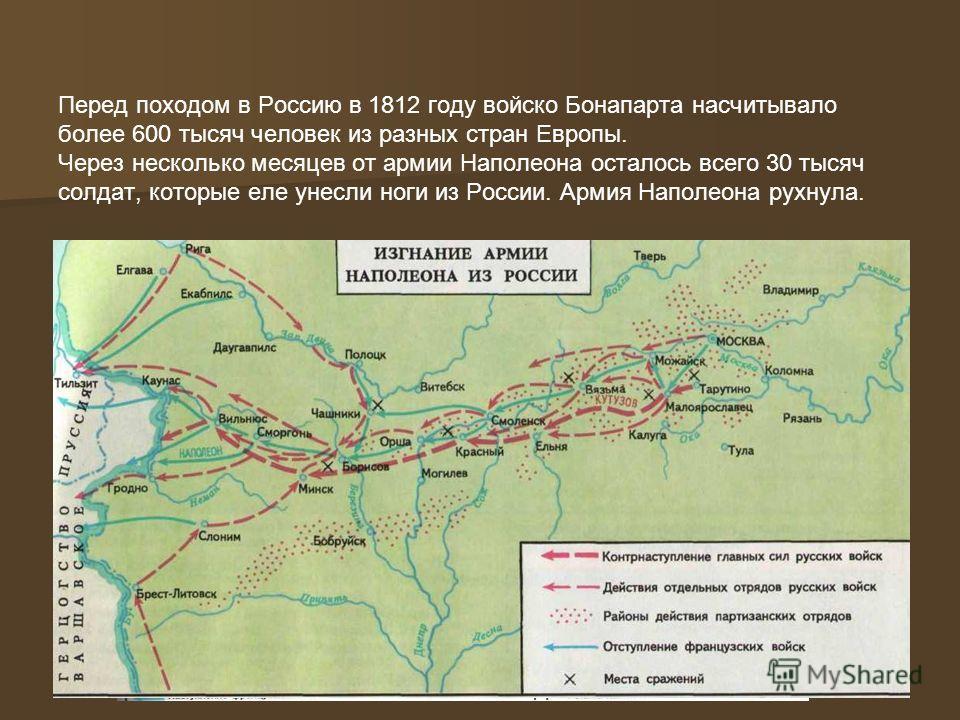 «Остается Россия, но я раздавлю ее.» «Остается Россия, но я раздавлю ее.» 1812 г. – Наполеон с огромной армией вторгается в Россию и доходит до Москвы. 1812 г. – Наполеон с огромной армией вторгается в Россию и доходит до Москвы. 1813 г. – Наполеон т