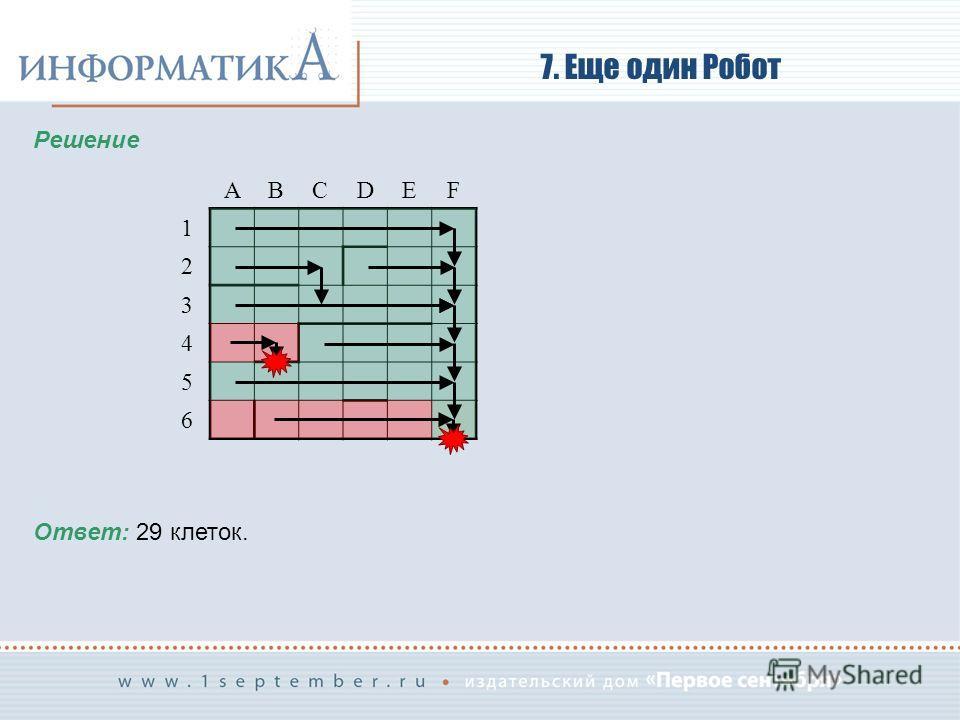 7. Еще один Робот Решение ABСDEF 1 2 3 4 5 6 Ответ: 29 клеток.