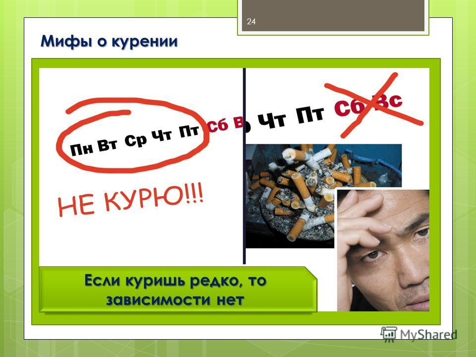 Мифы о курении 24 Если куришь редко, то зависимости нет