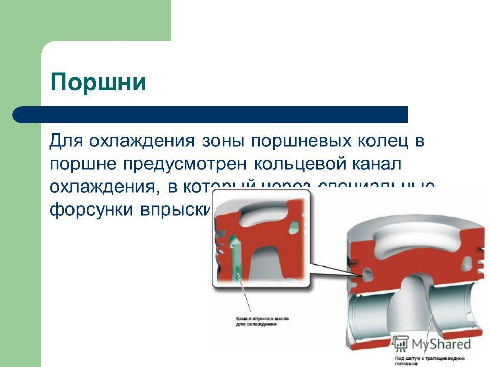 Поршни Для охлаждения зоны поршневых колец в поршне предусмотрен кольцевой канал охлаждения, в который через специальные форсунки впрыскивается масло.